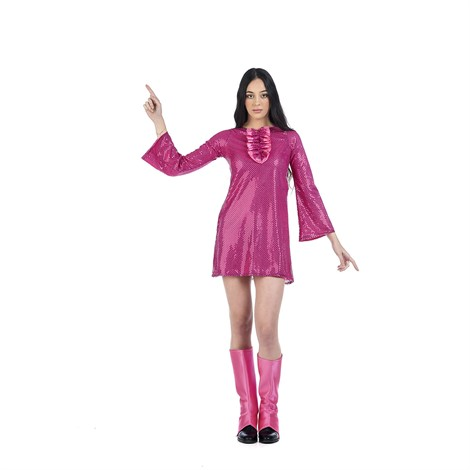 70´S DISCO COSTUME IN PINK FOR WOMEN