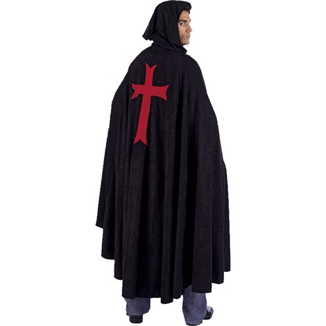 BLACK CAPE WITH CROSS ON BACK